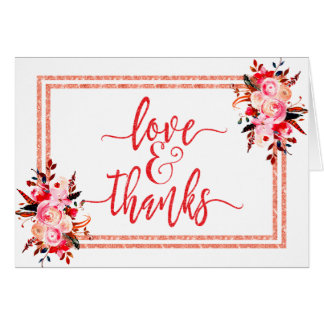 Peach & Coral Watercolor Floral Wedding Thank You Card