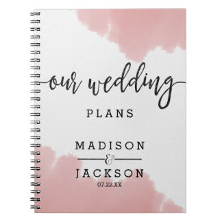 Peach Coral Watercolor Strokes Wedding Planner Notebooks