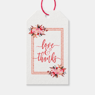 Peach & Coral Watercolor Wedding Love & Thanks Gift Tags