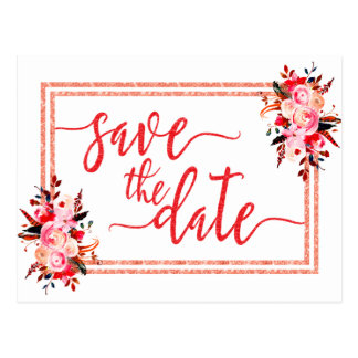 Peach & Coral Watercolor Wedding Save the Date Postcard
