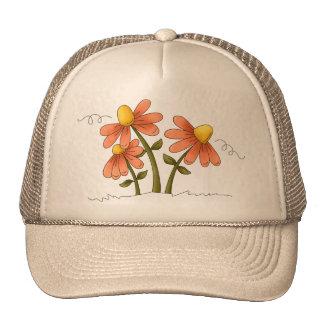 Peach Country Flowers Cap
