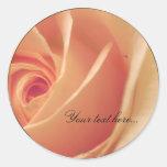 Peach Cream Rose Wedding Invitations Seals Round Stickers