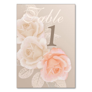 Peach & Cream Roses Table Number {right align}