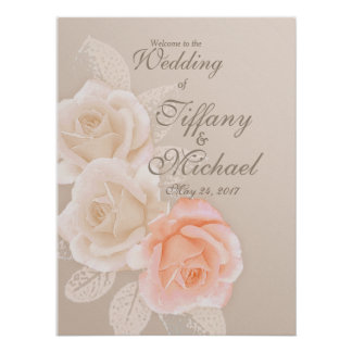 Peach & Cream Roses Wedding Greeting 18x24Poster Poster