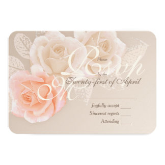 Peach & Cream Roses Wedding RSVP Card