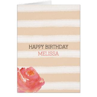 Peach Cream Stripes Watercolor Flower Greeting Card