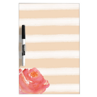 Peach Cream Stripes Watercolor Flower Dry-Erase Boards