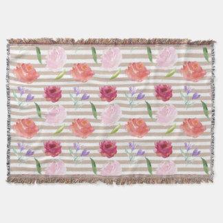 Peach Cream Stripes Watercolor Flowers