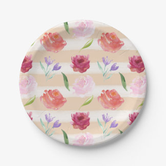 Peach Cream Stripes Watercolor Flowers 7 Inch Paper Plate