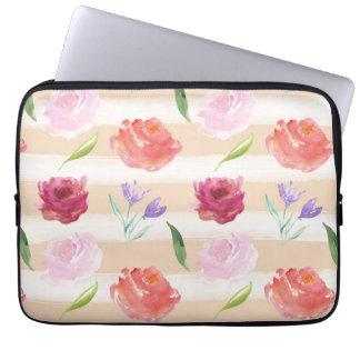 Peach Cream Stripes Watercolor Flowers Laptop Sleeves