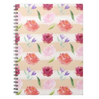 Peach Cream Stripes Watercolor Flowers Note Book