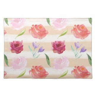 Peach Cream Stripes Watercolor Flowers Placemat