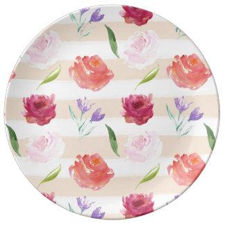 Peach Cream Stripes Watercolor Flowers Porcelain Plate