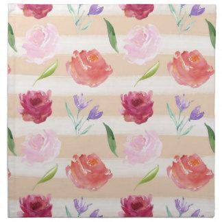 Peach Cream Stripes Watercolor Flowers Printed Napkin