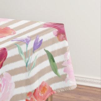 Peach Cream Stripes Watercolor Flowers Tablecloth
