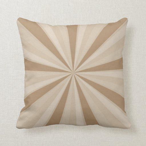 Peach Cream Sunburst Throw Pillow