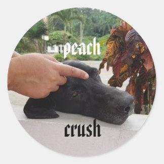 peach crush gentle touch dog sticker