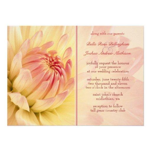 Peach Dahlias Wedding Invitation
