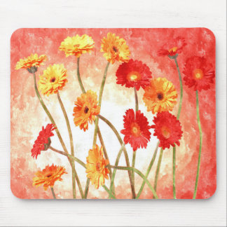 Peach Daisy Garden Watercolor Mouse Pad