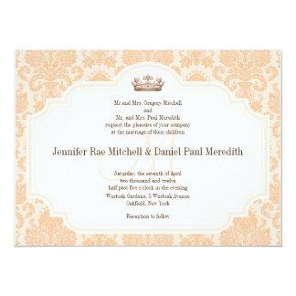 Peach Damask Chocolate Brown Wedding Wording 14 Cm X 19 Cm Invitation Card