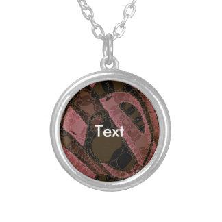 Peach Dark Brown Abstract Swirls Round Pendant Necklace