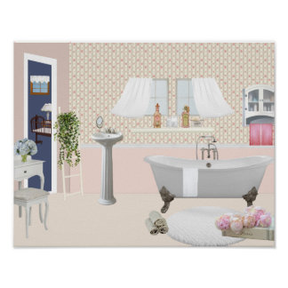 Peach Decorative Bathroom Poster with claw foot ba