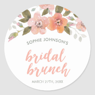 Peach Delicate Floral Bridal Bunch Classic Round Sticker