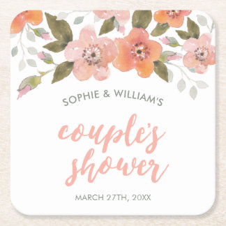 Peach Delicate Floral Couple's Shower Square Paper Coaster