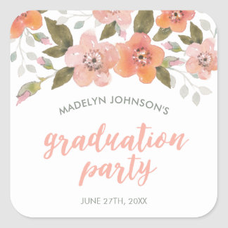 Peach Delicate Floral Graduation Party Square Sticker