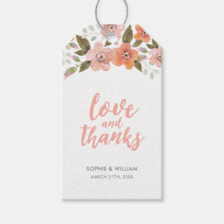 Peach Delicate Floral Love and Thanks Gift Tags