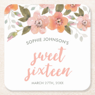 Peach Delicate Floral Sweet Sixteen Square Paper Coaster