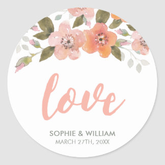 Peach Delicate Floral Wedding Love Classic Round Sticker