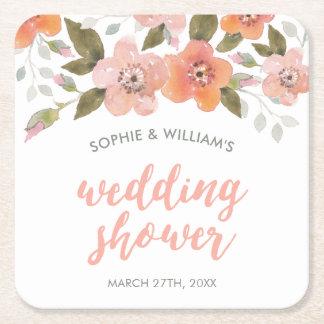 Peach Delicate Floral Wedding Shower Square Paper Coaster