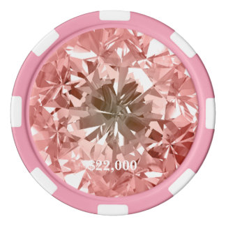 Peach Diamond Gem Stone Poker Chip Stripe Edge