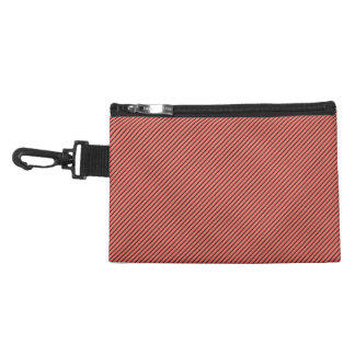 Peach Echo and Black Stripe Accessories Bag