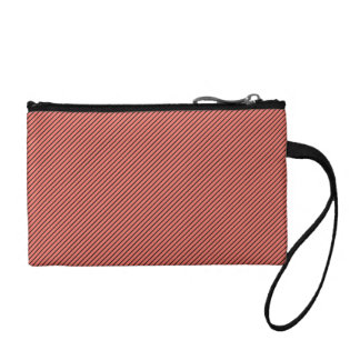 Peach Echo and Black Stripe Change Purse