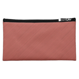 Peach Echo and Black Stripe Cosmetic Bag
