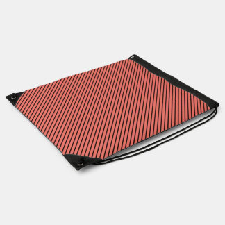 Peach Echo and Black Stripe Drawstring Bag