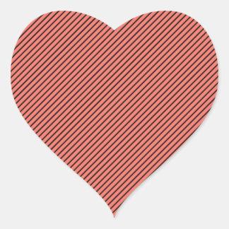 Peach Echo and Black Stripe Heart Sticker