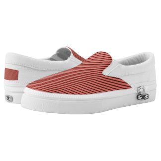 Peach Echo and Black Stripe Slip On Shoes