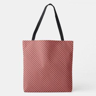 Peach Echo and Black Stripe Tote Bag