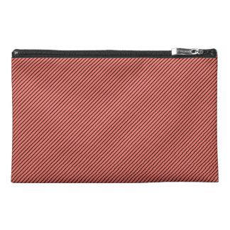 Peach Echo and Black Stripe Travel Accessory Bag