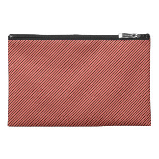 Peach Echo and Black Stripe Travel Accessory Bags
