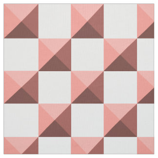 Peach Echo Pyramid Illusion Checkerboard Fabric