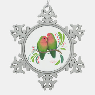 Peach Faced Love Birds Pewter Snowflake Decoration