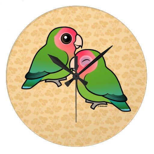 Peach-faced Lovebird Adorable Pair Wallclocks