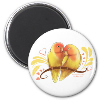 Peach Faced Lutino Lovebirds 6 Cm Round Magnet