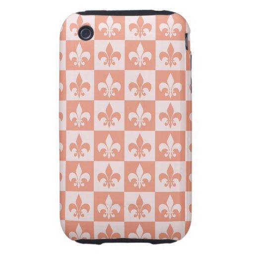 Peach Fleur de lis iPhone 3 Tough Cases