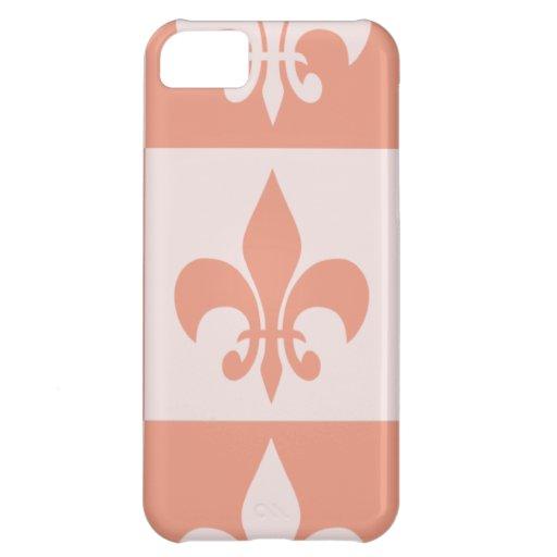 Peach Fleur de lis Case For iPhone 5C
