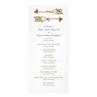 Peach Floral Bouquet Wedding Program Rack Card